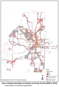 Truck routes, crashes involving trucks